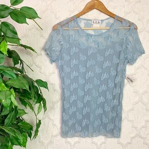 Vintage Deadstock Light Blue Mesh Butterfly Tee